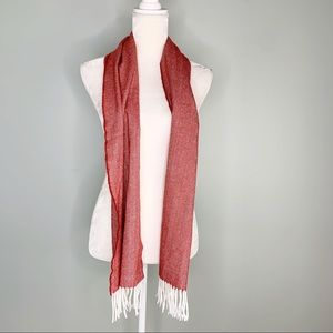 "Cashmere Scarf Red White Fringe Scotland 35"" x 12"""